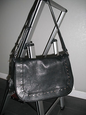 Innue genuine leather shoulder bag purse color black made in Italy new