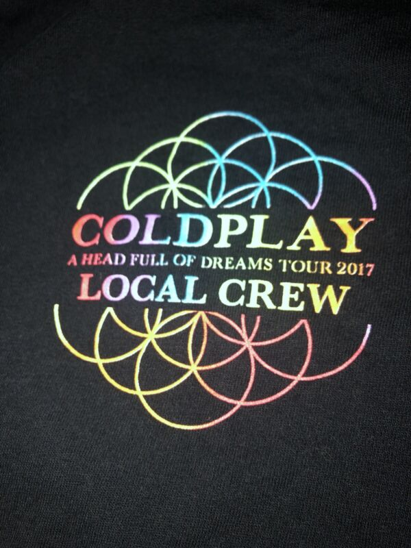 Vintage T Shirt - Coldplay A Head Full Of Dreams Tour Local Crew Black 2017 XL