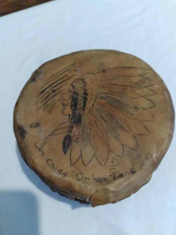 Very Rare Native American Chief Rawhide Wood Drum Chief O-WA-TANE (OBC on back)