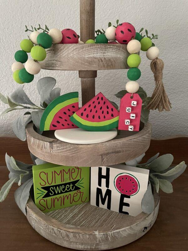 Watermelon Summer Tray Decor Set of 5