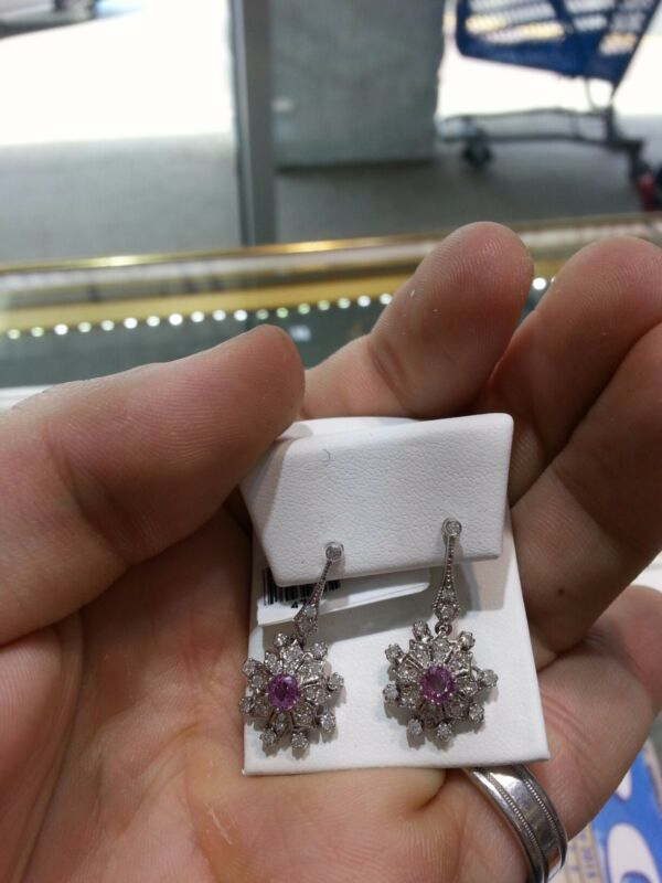 Fine Womens Earrings Diamond,pink Sapphire 14 Karat White Gold New Wow