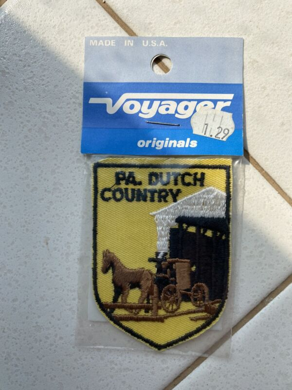 Vtg PA Dutch Country Fabric Patch embroidered unused horse and buggy bridge