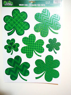 ST PATRICKS DAY WINDOW CLINGS DECORATIVE CLOVERS
