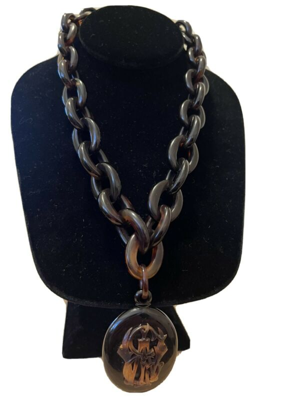 Victorian Tortoise Shell Pendant Chain Necklace