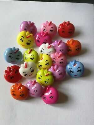 apple shape buttons cute faces mixed colours x20 approx 17mm craft sewing