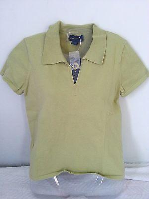 NWT CHARTER CLUB Women's S Green Cotton Nylon Short Sleeve Polo Shirt