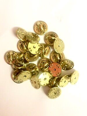 25 x Pin Badge Butterfly Backs, Fixings, Clasp, Clutch, Clip, Lapel, Gold Tone