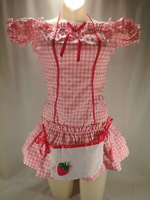 Sexy Strawberry Berry Shortcake Halloween Costume Pink Gingham Mini Dress S