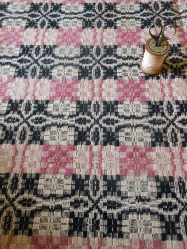 Antique 19thc Rare Lavender & Indigo Loom Woven Coverlet Piece