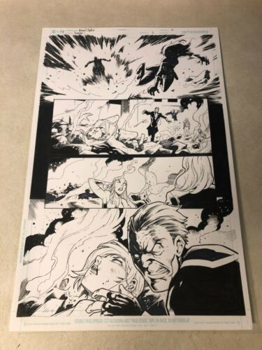 DOMINO #5 original art X-FORCE 2018 MARVEL TOPAZ smashed by EXPLOSION OUTLAW