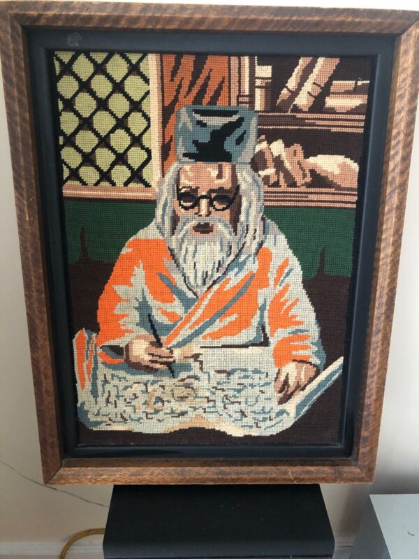 """Vintage 50s  Needlepoint Picture Of Confucius Rating On A Manuscript, 14"""" X 19"""""""