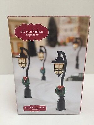 St Nicholas Square Lamp Posts Village Christmas Street Lights Set Accessories