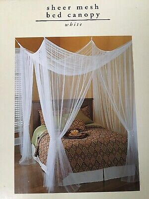 Pier 1 Bed Canopy Sheer White Mesh Romantic NEW IN -