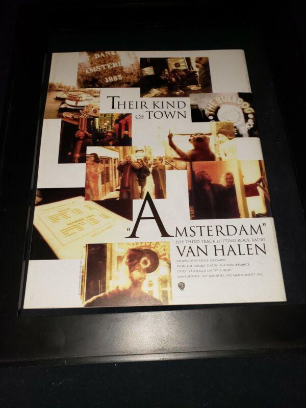Van Halen Amsterdam Rare Original Radio Promo Poster Ad Framed!