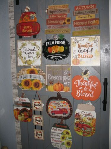 NEW FALL HARVEST AUTUMN WALL DECOR WREATH SIGN *14 DIFFERENT STYLES  AVAILABLE*