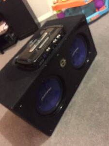 "^** 2 12"" PIONEER SUBS 1600 WATT AMP BASSWORX BOX!!"