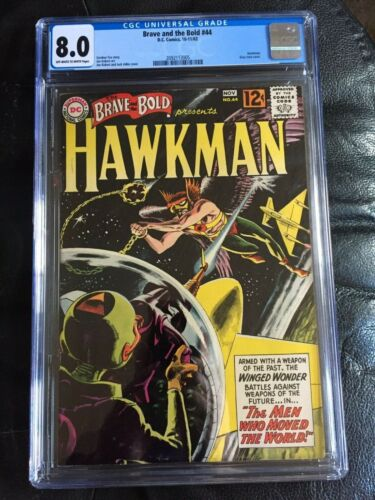 BRAVE AND BOLD #44 CGC VF 8.0; OW-W; Hawkman by Kubert; grey-tone cover!