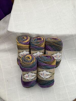 Alize Superlana Midi Batik Design Acrylic/Wool Yarn - 5 x 100g Balls...