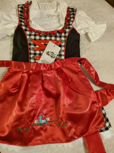 NEW! Girls,Kids,US 4,Germany,Trachten,Oktoberfest,Dirndl Dress,3-pc.Black,Red W.