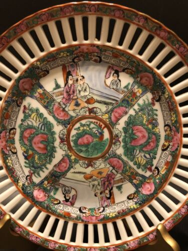 Antique Famille Rose Medallion Plate,Beautifully Hand Painted - $125.00