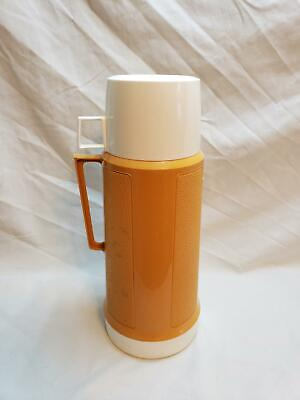 Vintage 1960s Yellow Harvest Gold Thermos Super Quart Glass Insert with Cup