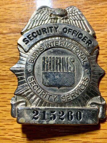 Vintage Burns International Security Service Security Officer Badge Obsolete