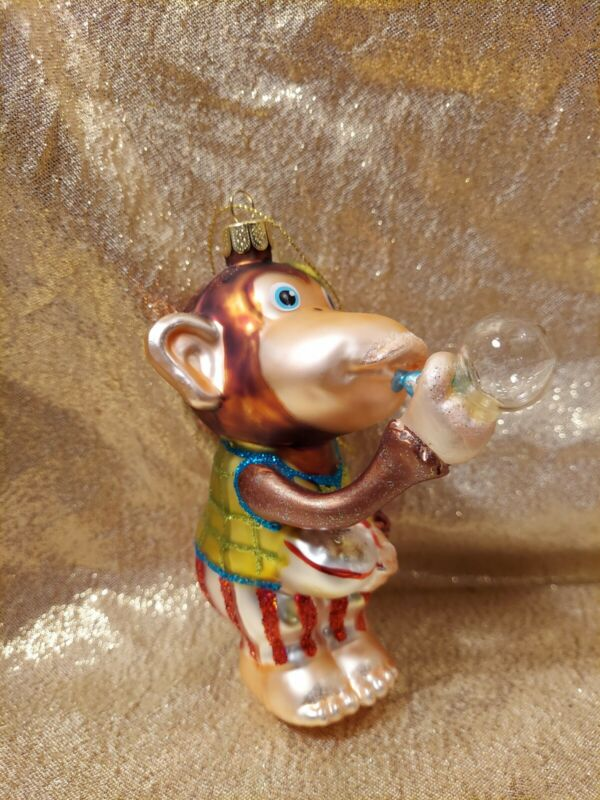 """Glass Monkey Christmas Tree Ornament Blowing Bubbles Circus 4"""""""