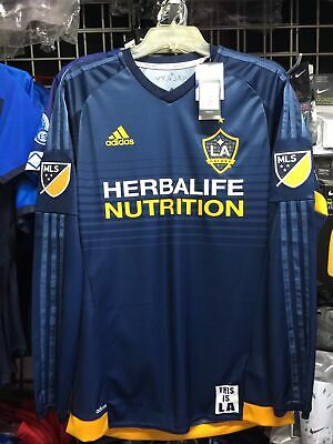 Adidas LA Galaxy LS Away Jersey 2015 Navy Yellow Soccer Jersey Size M Men Only image
