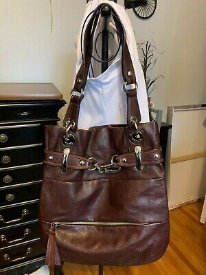"""B MAKOWSKY Large Brown SOFT Leather HOBO SLOUCH PURSE & Dust Bag~15""""T x 13""""W~XPO"""