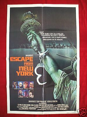 ESCAPE FROM NEW YORK * 1981 ORIGINAL MOVIE POSTER *RARE ADVANCE 1SH*  HALLOWEEN