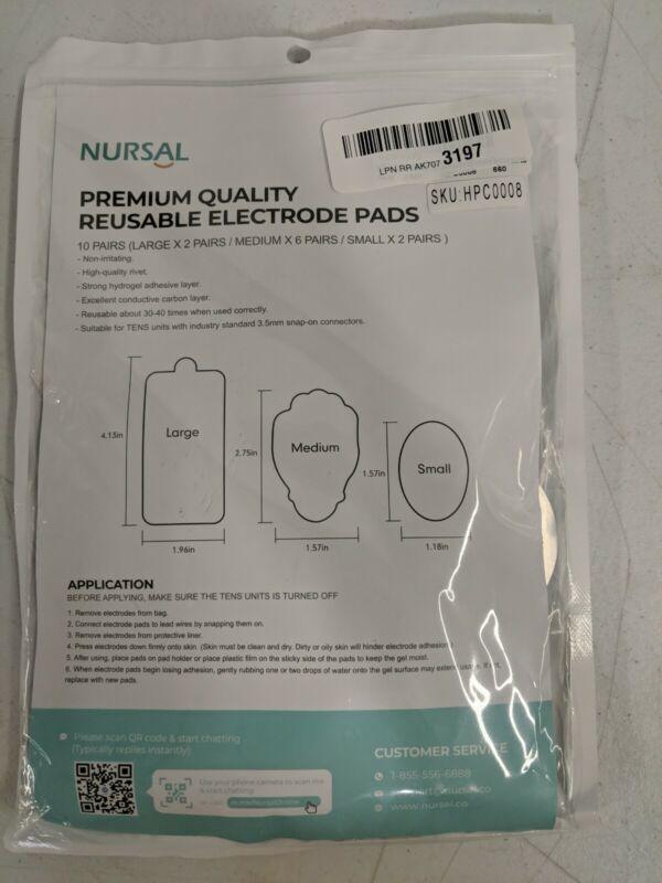 Nursal TENS/EMS Unit Pads Snap Electrode Pads - 10 Pairs Large Medium Small NEW