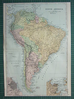 1900 LARGE VICTORIAN MAP SOUTH AMERICA BRAZILARGENTINE REPUBLIC BUENOS AYRES