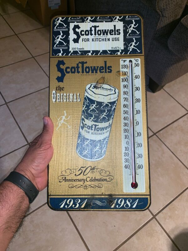 Vintage Scot Tissue Towel Sign /thermometer Wood 1981 Award