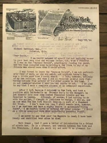 New York Biscuit Company letter 1894 Nabisco