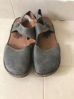 Josef Seibel Rosalie 27 Grey/Blue Leather Womens Rip Tape Summer Shoes