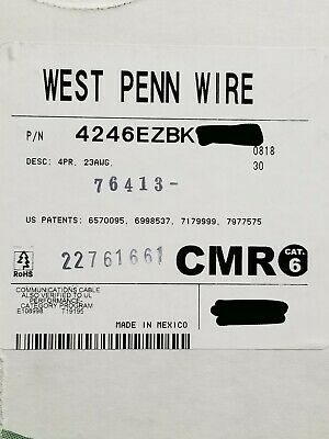 West Penn Wire 4246 234p Cat6 Utp Riser Network Cable Cmr Black 100ft