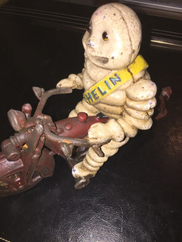 Michelin Tire Man Motorcycle Cast Iron Patina Finish Toy Set Lot Antique Style!