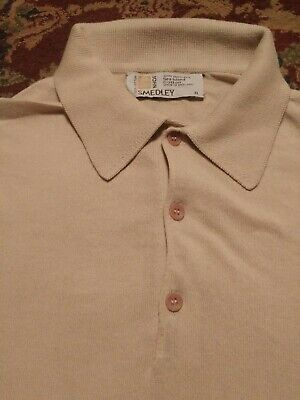 JOHN SMEDLEY Men's Polo Style THIN 100% SEA COTTON Xtra Large Brown LS Sweater