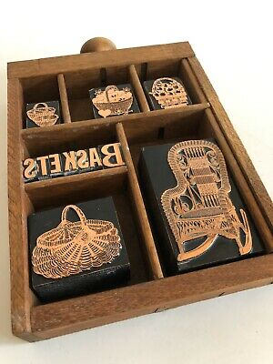 Copper On Wood Print Blocks Stamp Baskets Rocking Chair Shadow Box Drawer Wall