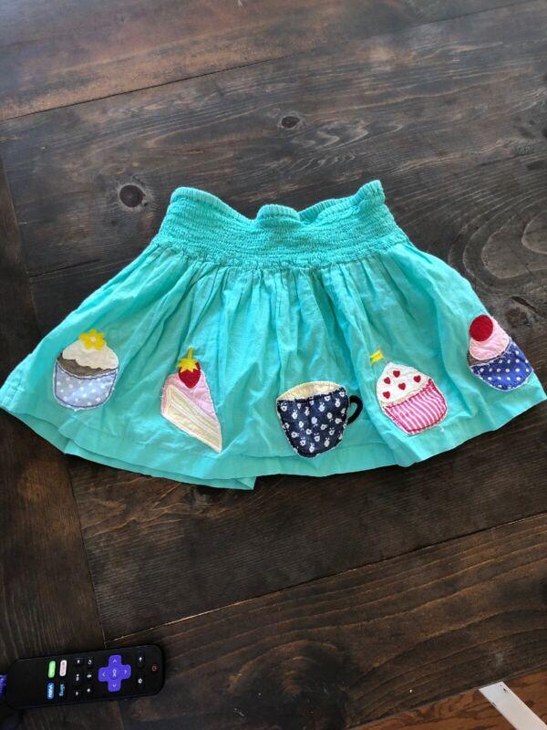 Mini Boden Applique Skirt Cupcake Dessert Tea Cake 2-3 Teal Blue Green