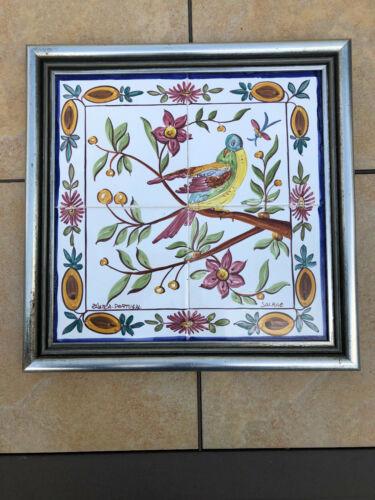 Vintage 4 Piece Framed Floral & Bird Portuguese Ceramic Tile Wall Panel Mural