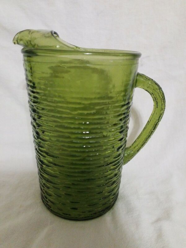 Vintage Anchor Hocking Soreno Glass Green 2 Qt Pitcher