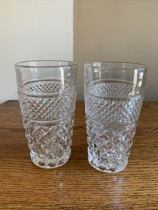 """SET OF 2 Anchor Hocking WEXFORD 5-1/4"""" Flat Tumblers; 10-Ounce;"""