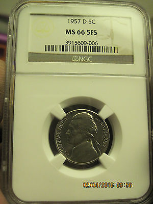 Click now to see the BUY IT NOW Price! 1957 D JEFFERSON NICKEL NGC MS 66 5FS   LIST $2,750