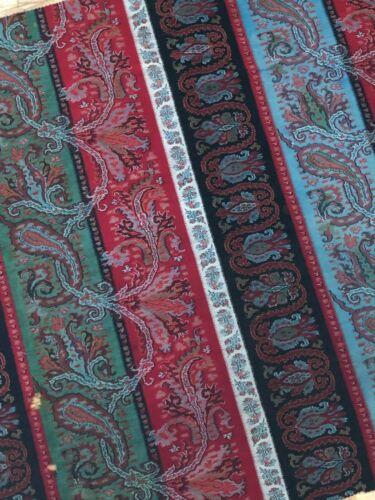 "Beautiful antique c. 1870 wool paisley Kashmir shawl fabric  (31"" x 31"")"