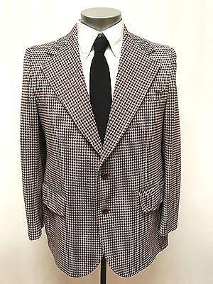 vintage 70s mens red black white HOUNDSTOOTH JACKET sport suit coat retro 42 R