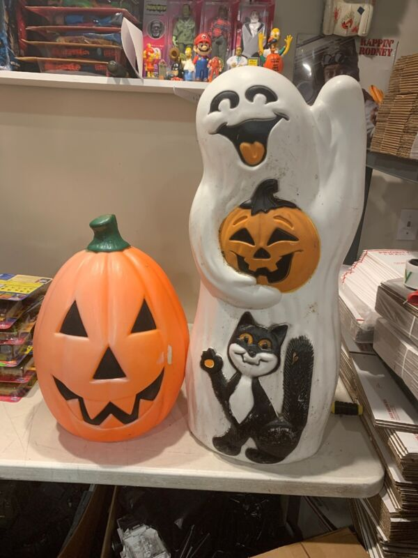 Vintage HALLOWEEN Ghost w/Black Cat & Pumpkin BLOW MOLDs Jack O Lantern Lot