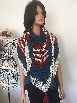 Hand Knits 2 Love Shawl Triangle American Flag Vintage Mood Designer Fashion