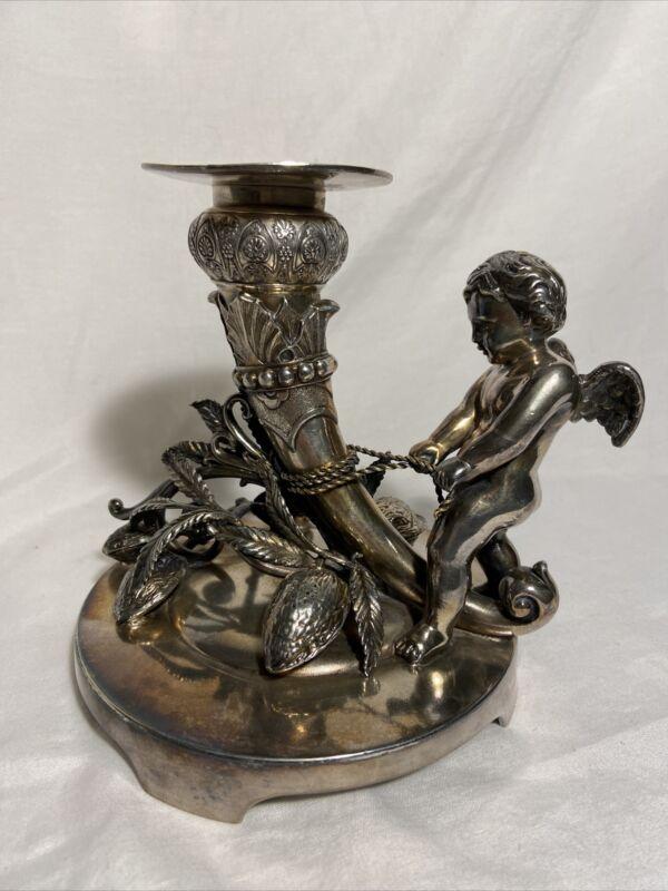 Antique Middletown Silver Plate Cherub Figural Centerpiece Candlestick Victorian