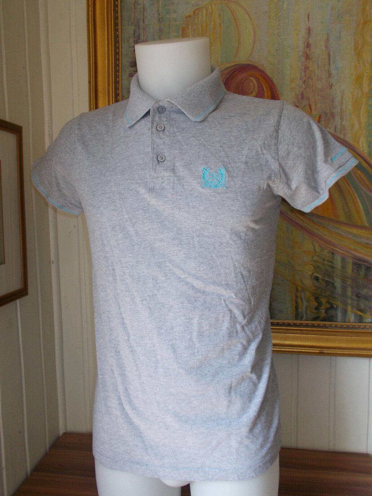 Polo coton gris brodé turquoise jean louis scherrer l 40/42 manches courtes